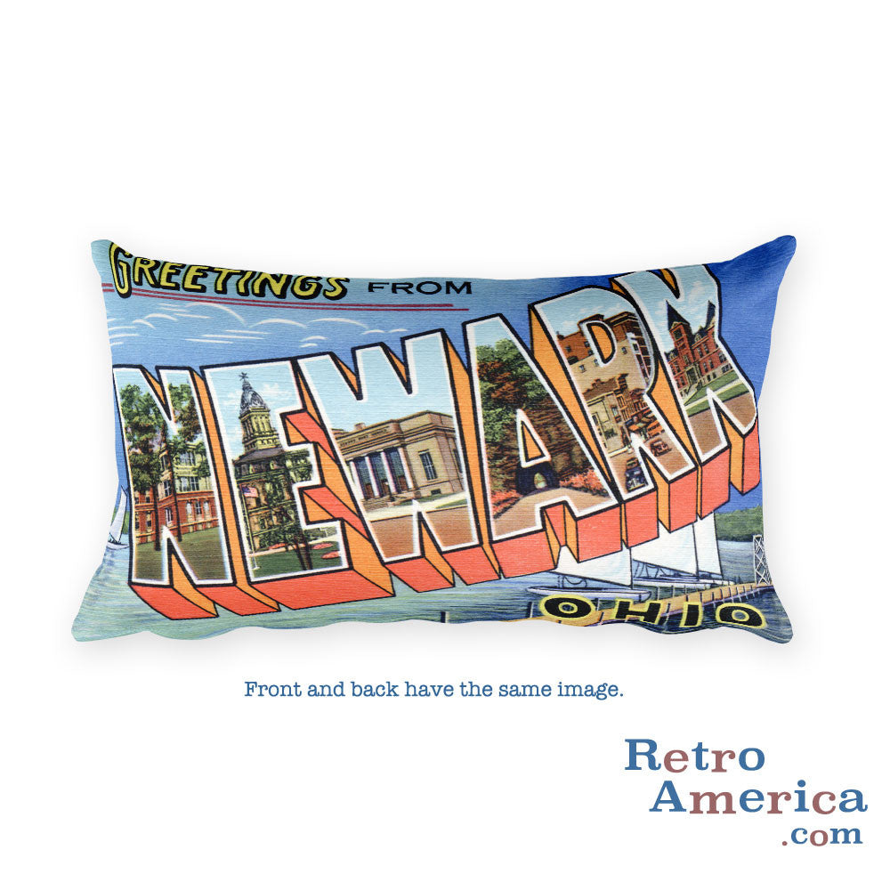 Greetings from Newark Ohio Throw Pillow