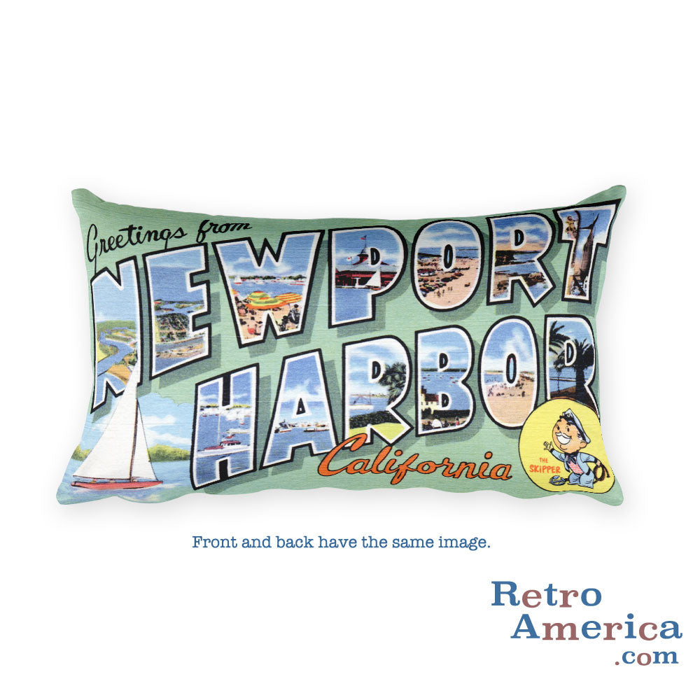 Greetings from Newport Harbor California Throw Pillow