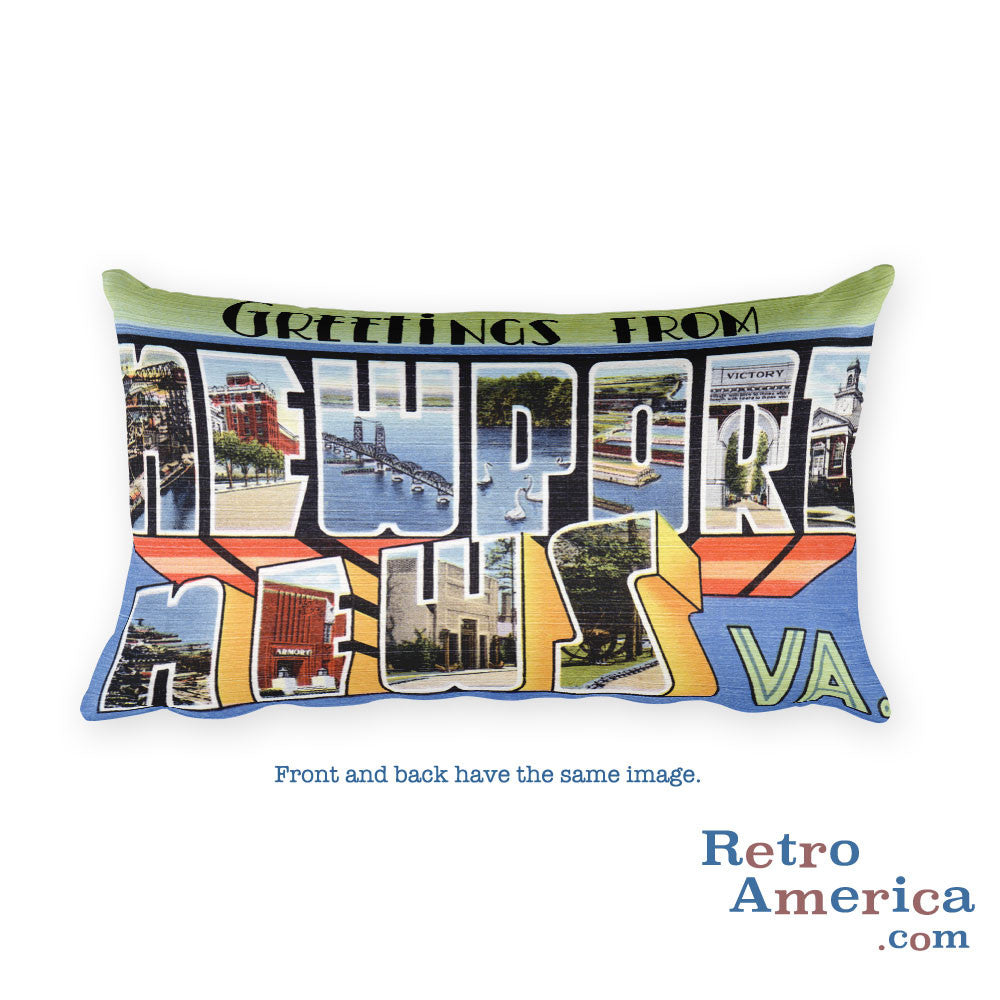 Greetings from Newport News Virginia Throw Pillow
