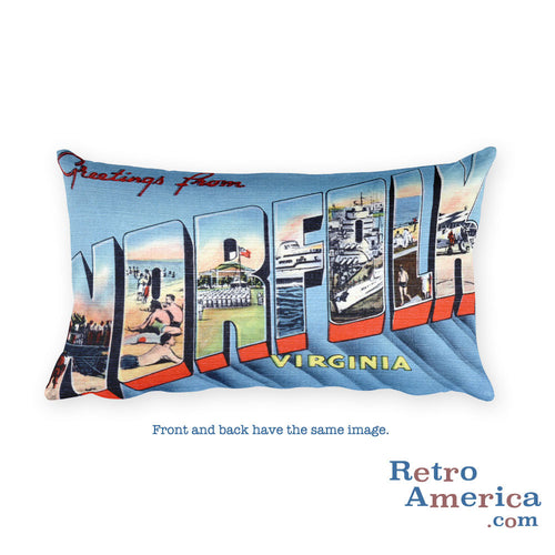 Greetings from Norfolk Virginia Throw Pillow