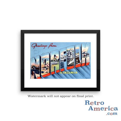 Greetings from Norfolk Virginia VA Postcard Framed Wall Art