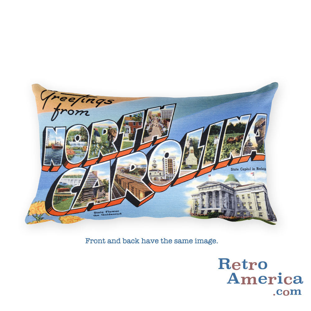 Greetings from North Carolina Throw Pillow 1
