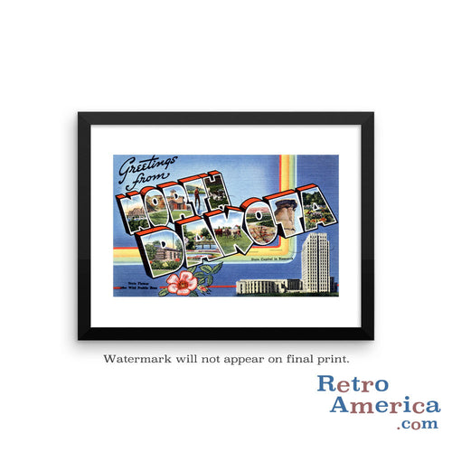 Greetings from North Dakota ND 1 Postcard Framed Wall Art