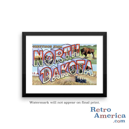 Greetings from North Dakota ND 2 Postcard Framed Wall Art