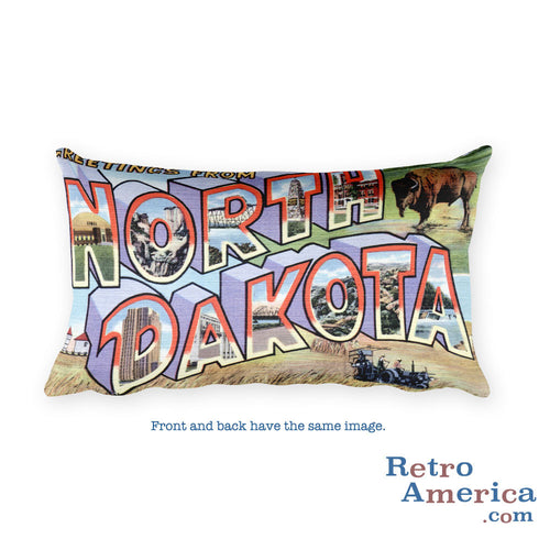 Greetings from North Dakota Throw Pillow 2