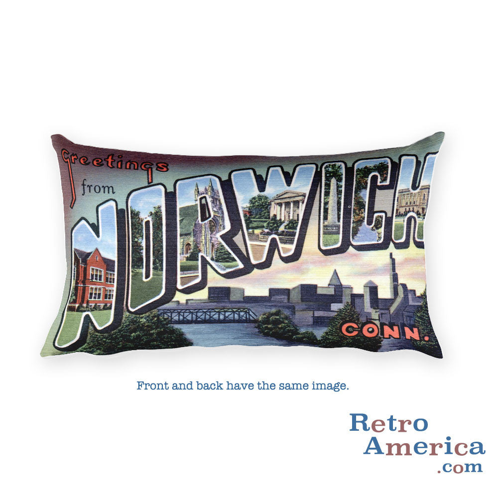 Greetings from Norwich Connecticut Throw Pillow
