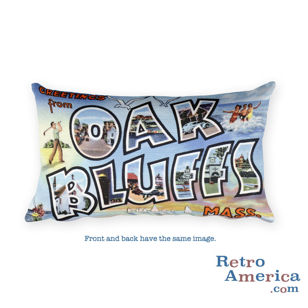 Greetings from Oak Bluffs Massachusetts Throw Pillow