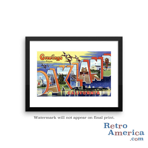Greetings from Oakland California CA 2 Postcard Framed Wall Art