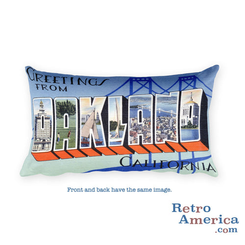 Greetings from Oakland California Throw Pillow 1