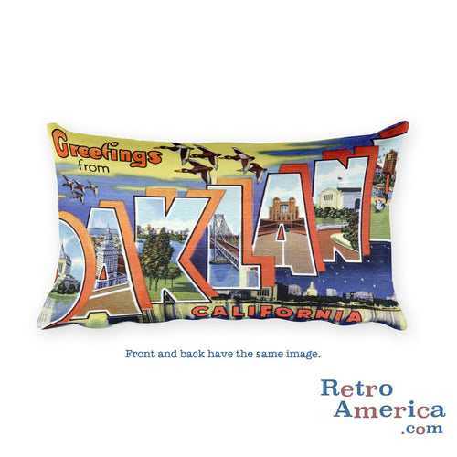 Greetings from Oakland California Throw Pillow 2