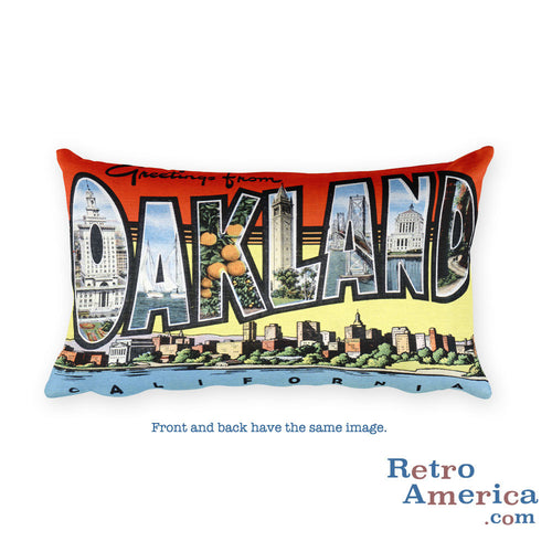 Greetings from Oakland California Throw Pillow 3