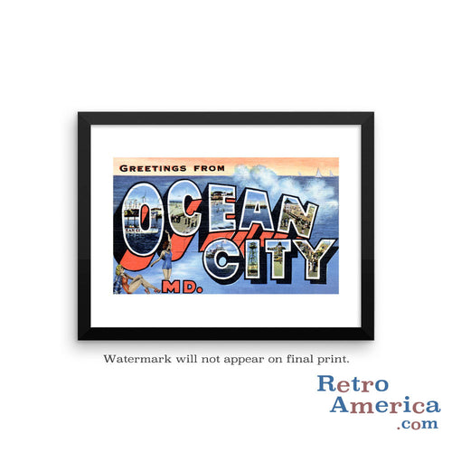 Greetings from Ocean City Maryland Md Postcard Framed Wall Art