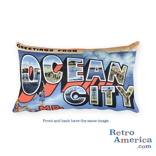 Greetings from Ocean City Maryland Throw Pillow