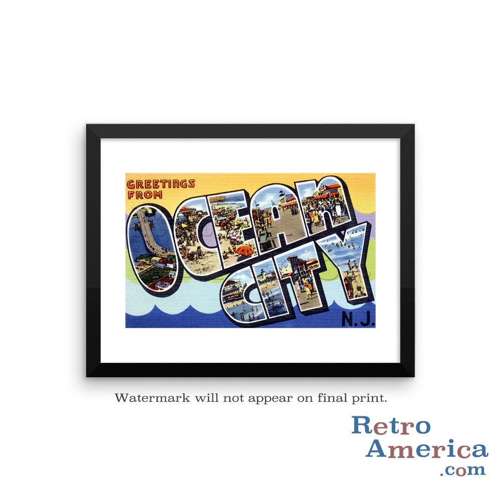 Greetings from Ocean City New Jersey NJ Postcard Framed Wall Art