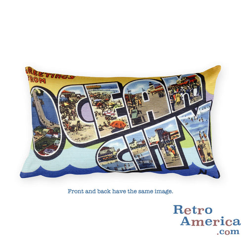 Greetings from Ocean City New Jersey Throw Pillow