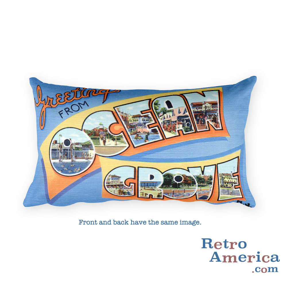 Greetings from Ocean Grove New Jersey Throw Pillow 2