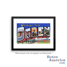 Greetings from Ogden Utah UT Postcard Framed Wall Art