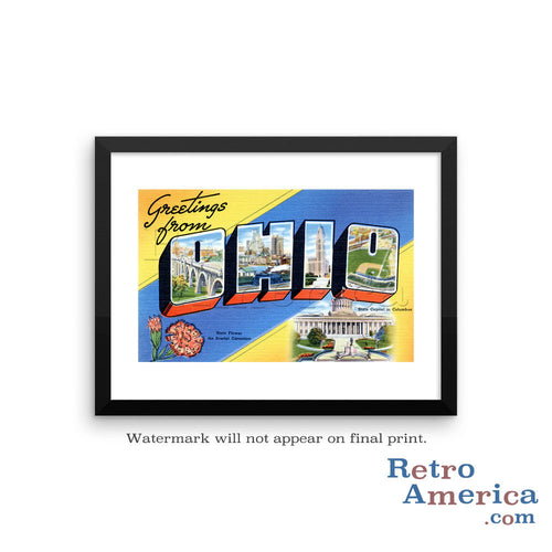 Greetings from Ohio OH 1 Postcard Framed Wall Art