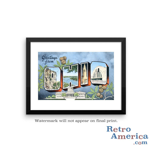 Greetings from Ohio OH 2 Postcard Framed Wall Art