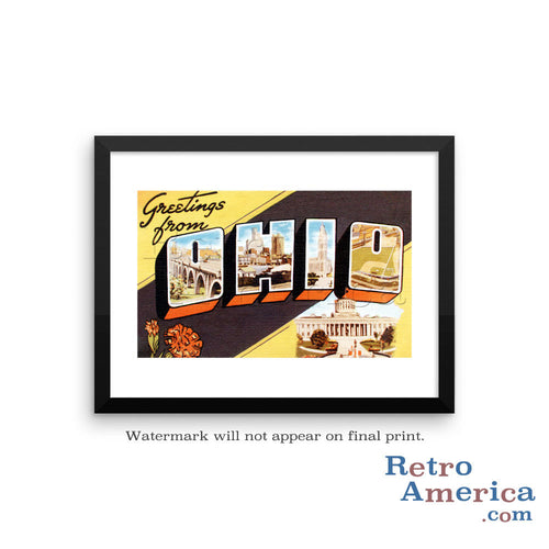 Greetings from Ohio OH 3 Postcard Framed Wall Art