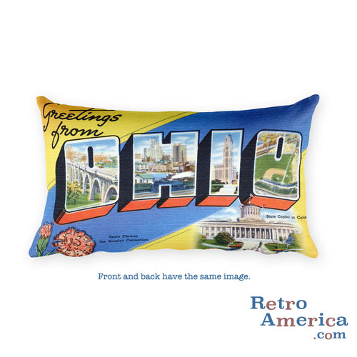 Greetings from Ohio Throw Pillow 1