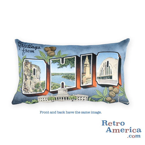 Greetings from Ohio Throw Pillow 2