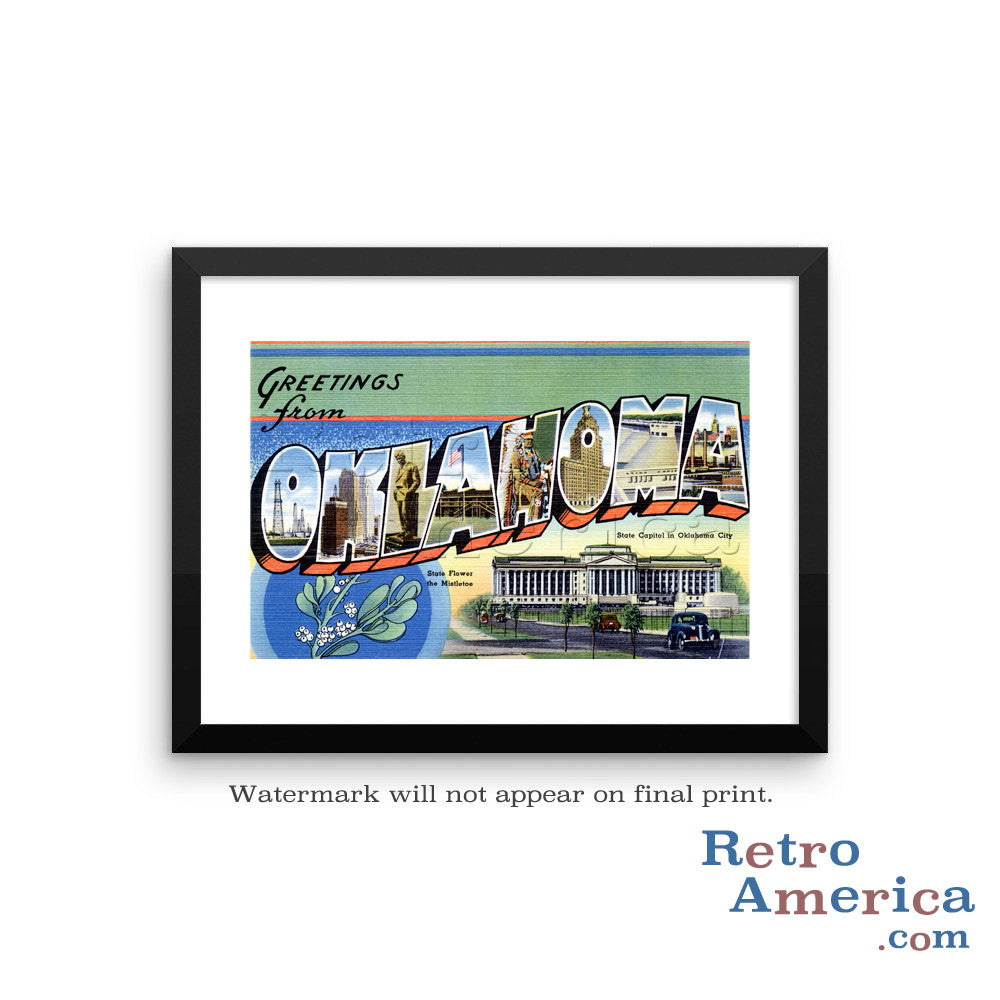 Greetings from Oklahoma OK 1 Postcard Framed Wall Art
