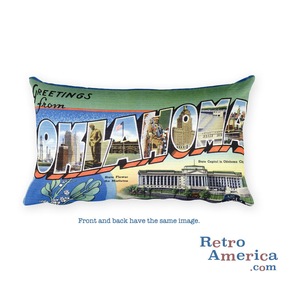Greetings from Oklahoma Throw Pillow 1