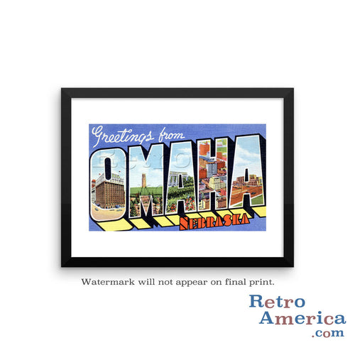 Greetings from Omaha Nebraska NE 1 Postcard Framed Wall Art