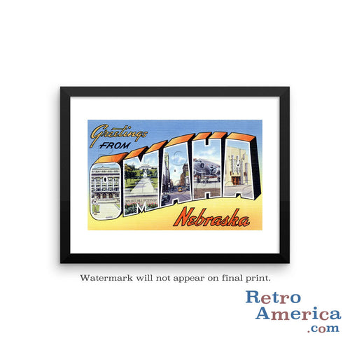 Greetings from Omaha Nebraska NE 2 Postcard Framed Wall Art