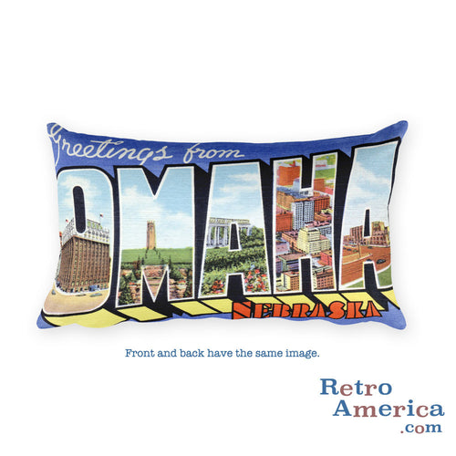 Greetings from Omaha Nebraska Throw Pillow 1