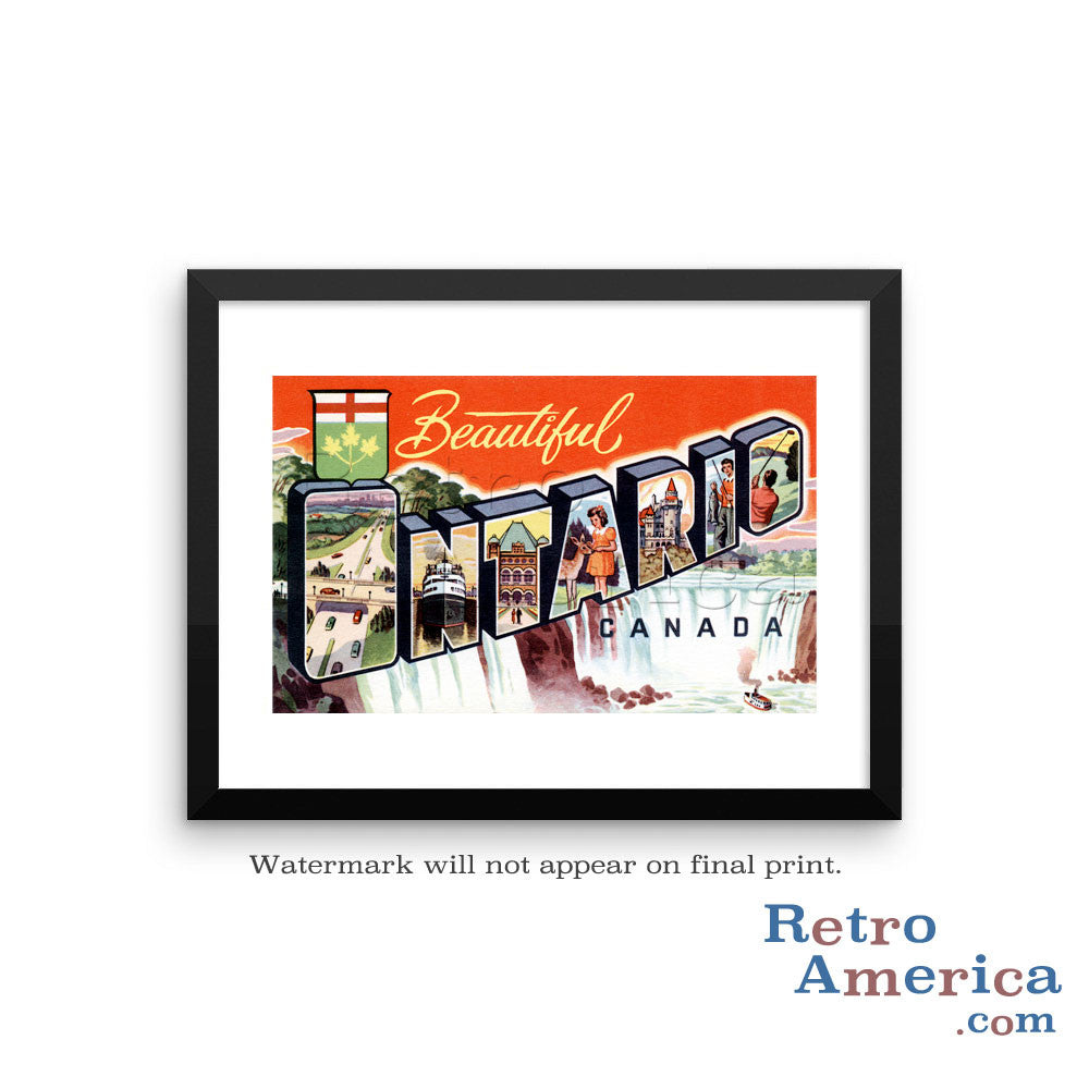 Greetings from Ontario Canada Canada Postcard Framed Wall Art