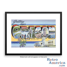 Greetings from Oregon OR 1 Postcard Framed Wall Art