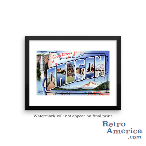 Greetings from Oregon OR 2 Postcard Framed Wall Art