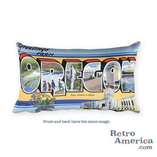 Greetings from Oregon Throw Pillow 1