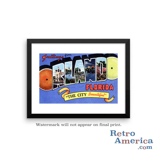 Greetings from Orlando Florida FL Postcard Framed Wall Art