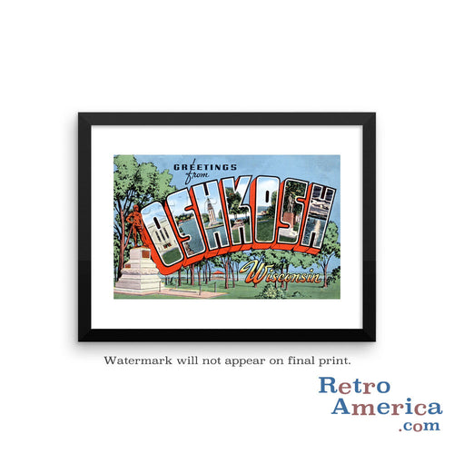 Greetings from Oshkosh Wisconsin WI 1 Postcard Framed Wall Art