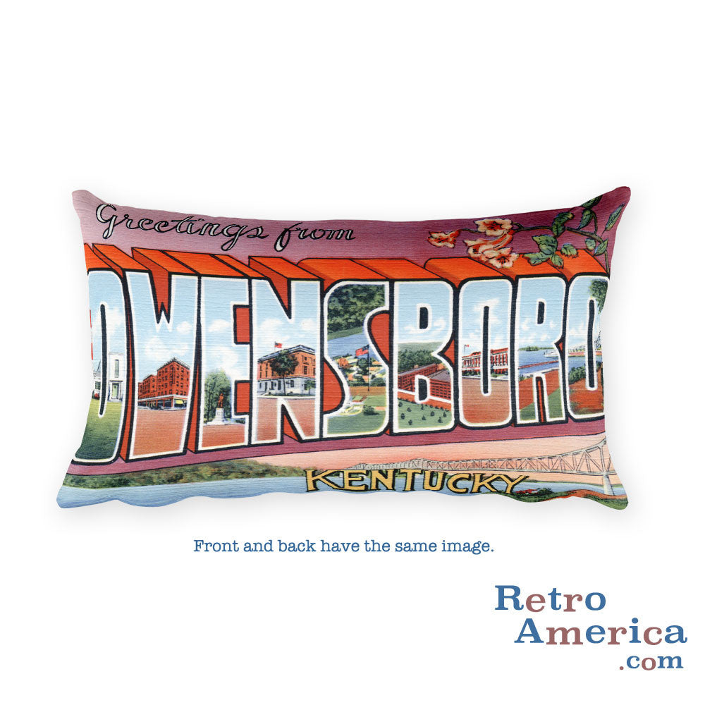 Greetings from Owensboro Kentucky Throw Pillow