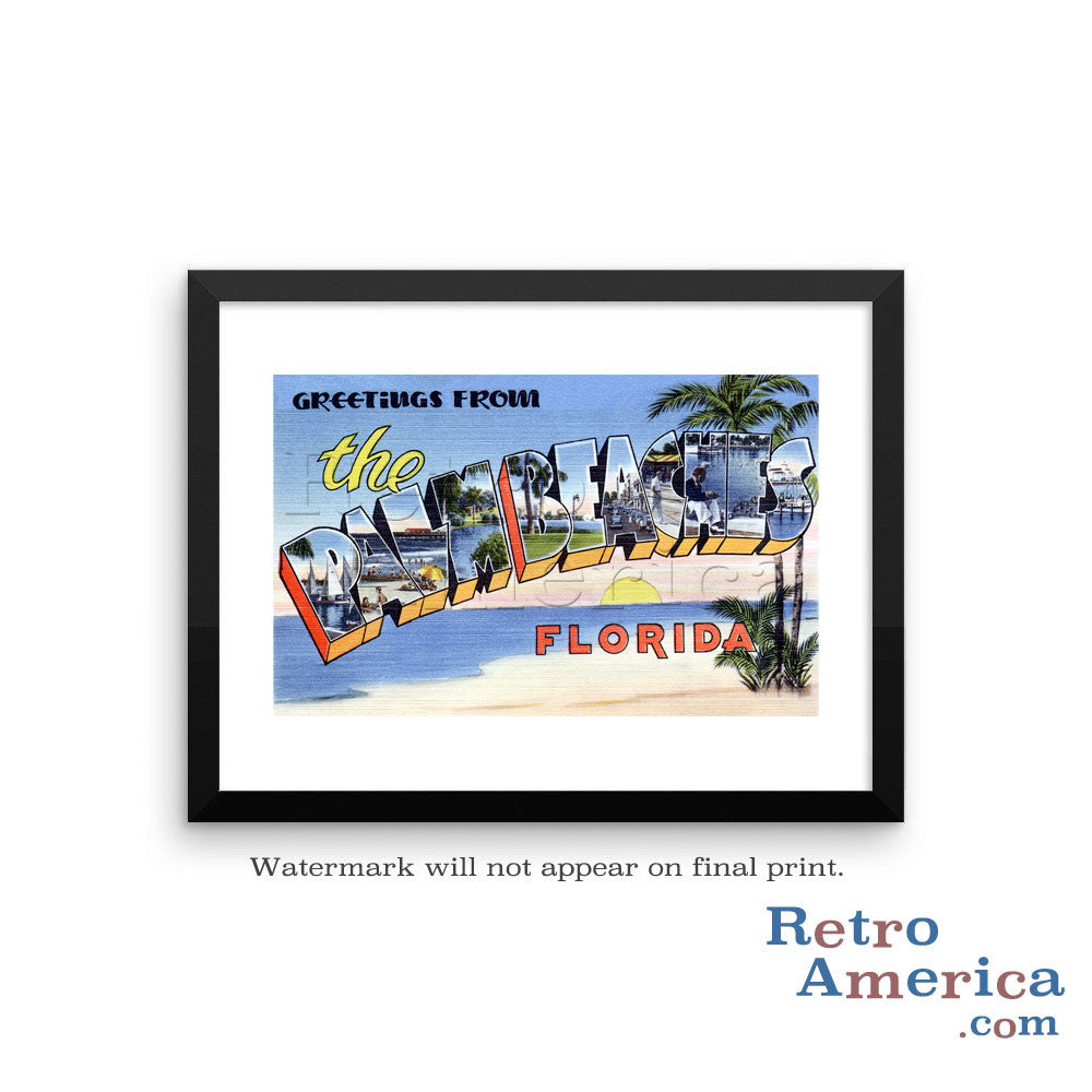 Greetings from Palm Beaches Florida FL Postcard Framed Wall Art