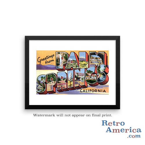 Greetings from Palm Springs California CA Postcard Framed Wall Art