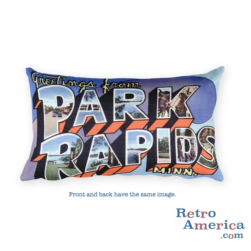 Greetings from Park Rapids Minnesota Throw Pillow