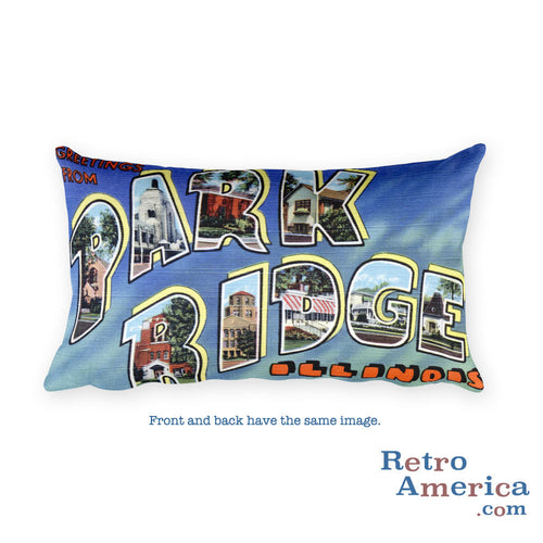 Greetings from Park Ridge Illinois Throw Pillow