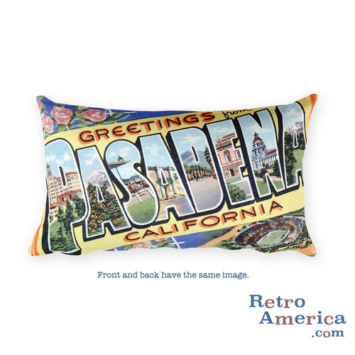 Greetings from Pasadena California Throw Pillow
