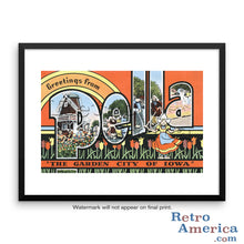 Greetings from Pella Iowa IA Postcard Framed Wall Art
