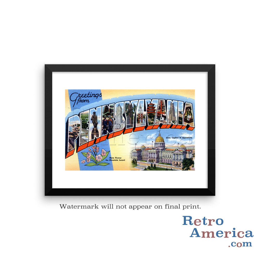 Greetings from Pennsylvania PA Postcard Framed Wall Art