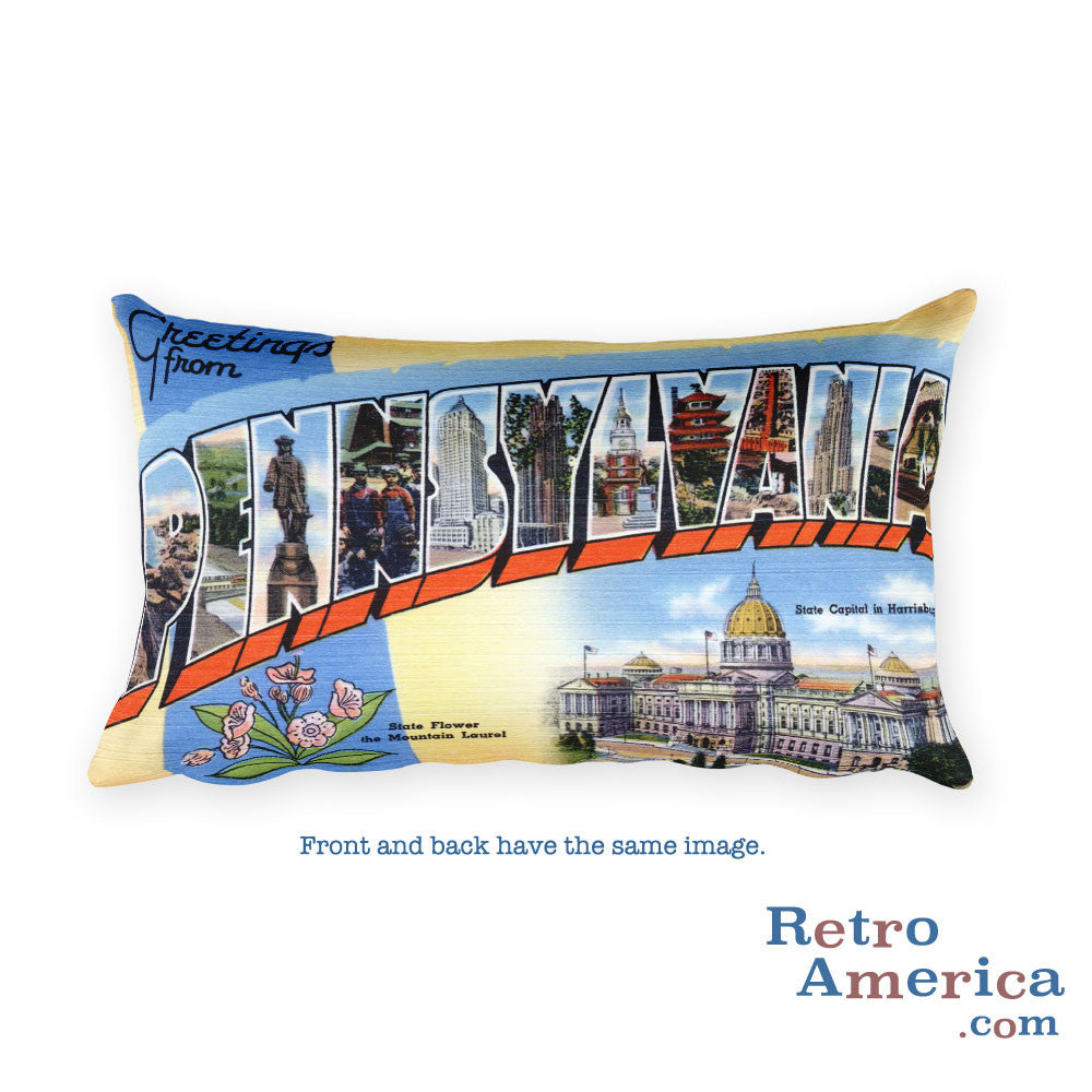 Greetings from Pennsylvania Throw Pillow 1