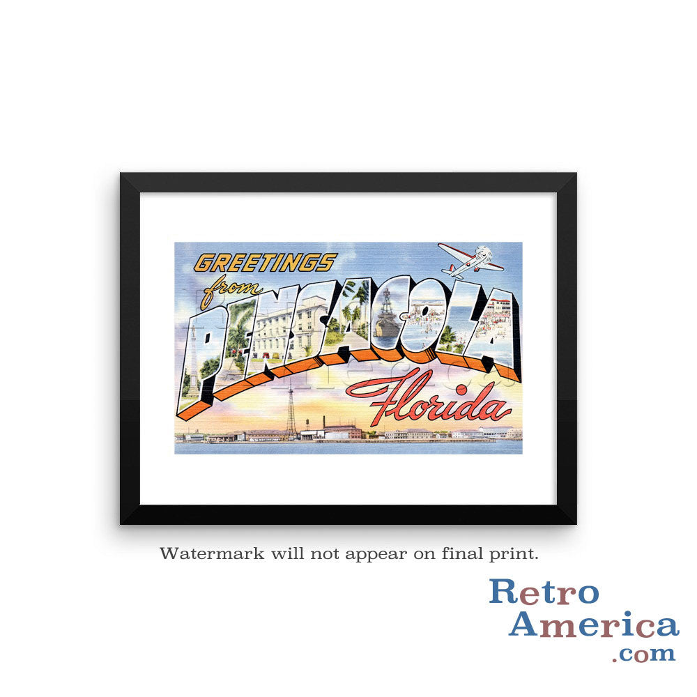 Greetings from Pensacola Florida FL 1 Postcard Framed Wall Art