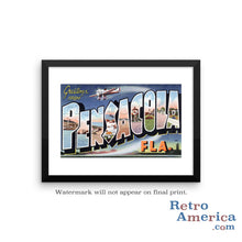 Greetings from Pensacola Florida FL 2 Postcard Framed Wall Art