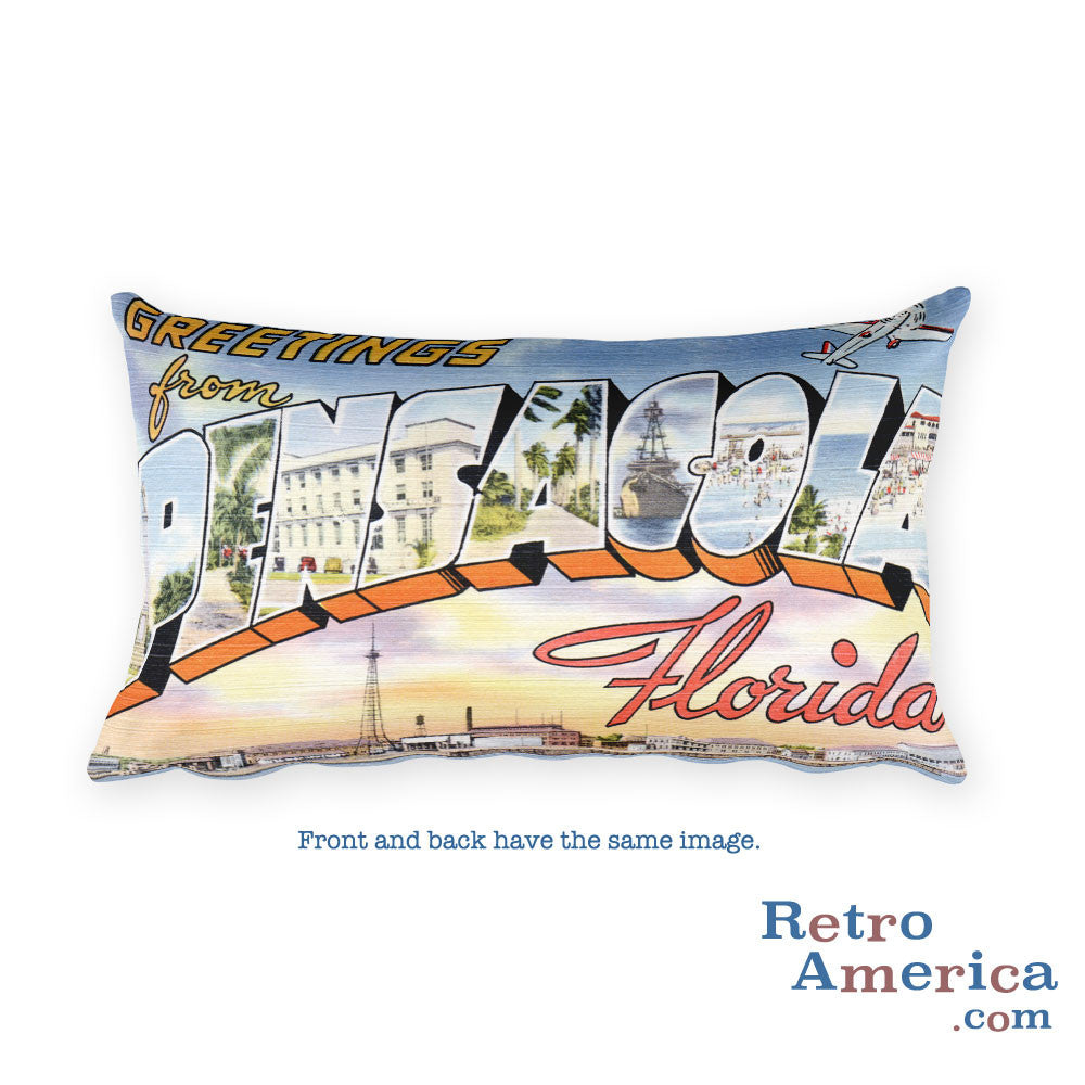 Greetings from Pensacola Florida Throw Pillow 1