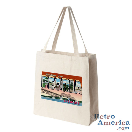 Greetings from Peoria Illinois IL Postcard Tote Bag